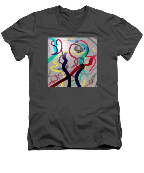 Men's V-Neck T-Shirt featuring the painting Awareness by Robert Henne