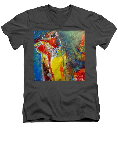 Men's V-Neck T-Shirt featuring the painting Awesome God by Deborah Nell