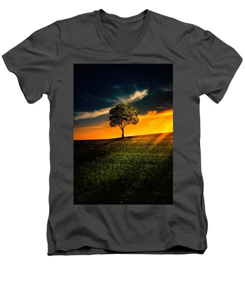Awesome Solitude II Men's V-Neck T-Shirt by Bess Hamiti