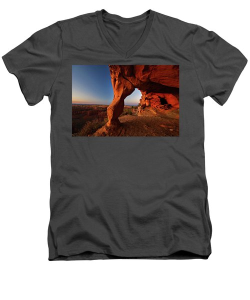 Men's V-Neck T-Shirt featuring the photograph Aztec Butte by Wesley Aston