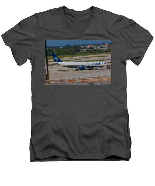 Azul Barzillian Airline Men's V-Neck T-Shirt