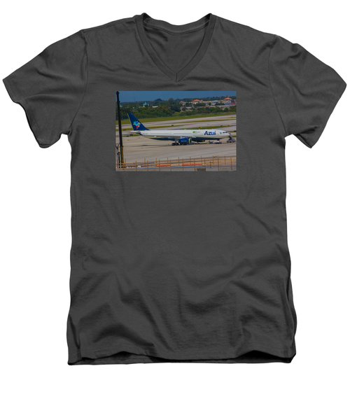 Azul Barzillian Airline Men's V-Neck T-Shirt