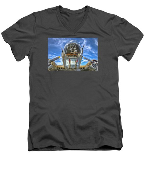 Men's V-Neck T-Shirt featuring the photograph B 17 Up Close by Gary Slawsky