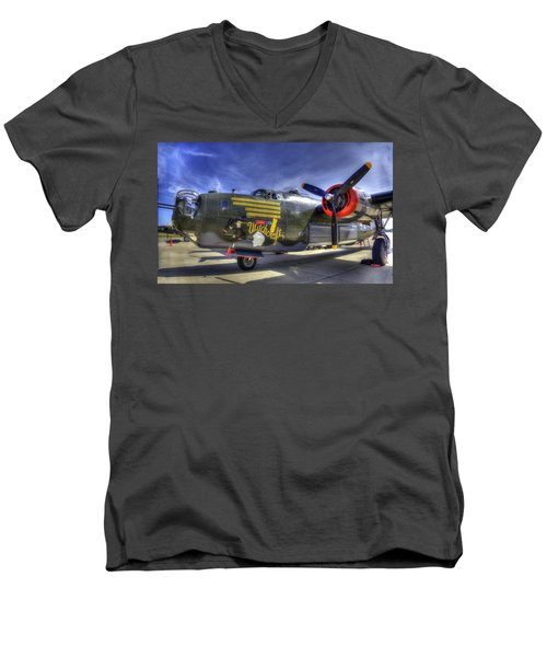 B-24 Men's V-Neck T-Shirt by Joe  Palermo