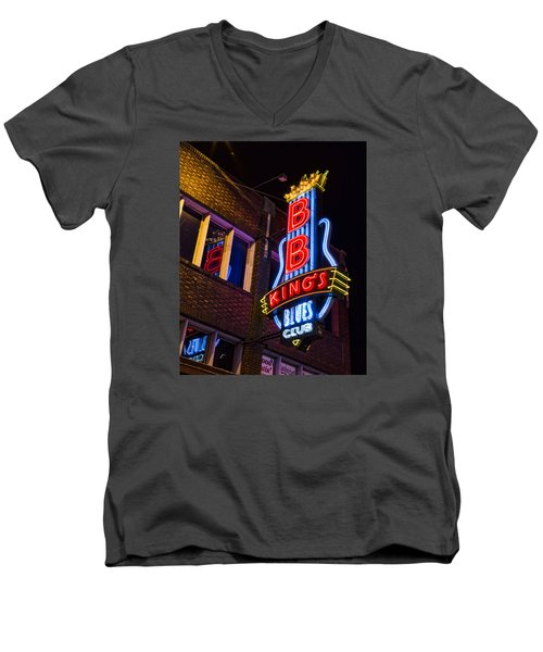 B B Kings On Beale Street Men's V-Neck T-Shirt