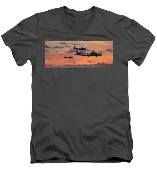 Men's V-Neck T-Shirt featuring the digital art B17 - Sunset Home by Pat Speirs