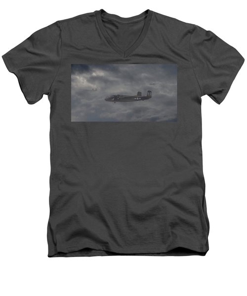 Men's V-Neck T-Shirt featuring the digital art B25 - 12th Usaaf by Pat Speirs