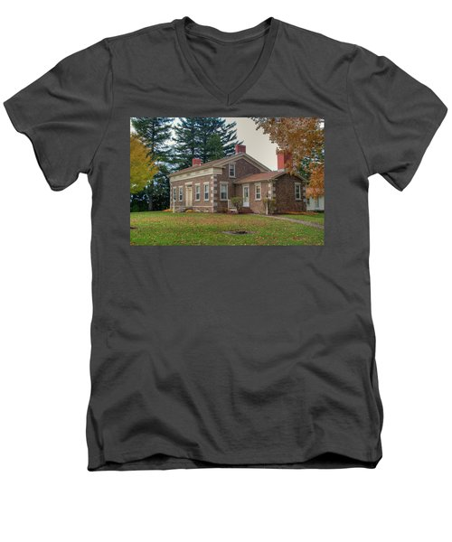 Men's V-Neck T-Shirt featuring the photograph Babcock House Autumn 13937 by Guy Whiteley