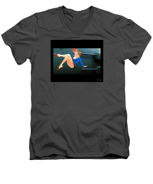 Babe On Wwii Bomber The Show Me Men's V-Neck T-Shirt by Kathy Barney