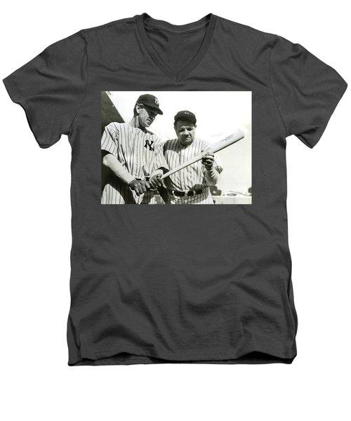 Babe Ruth And Lou Gehrig Men's V-Neck T-Shirt by Jon Neidert
