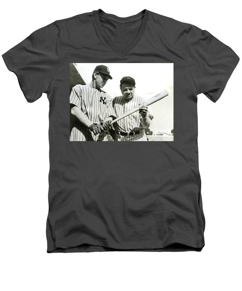 Babe Ruth And Lou Gehrig Men's V-Neck T-Shirt