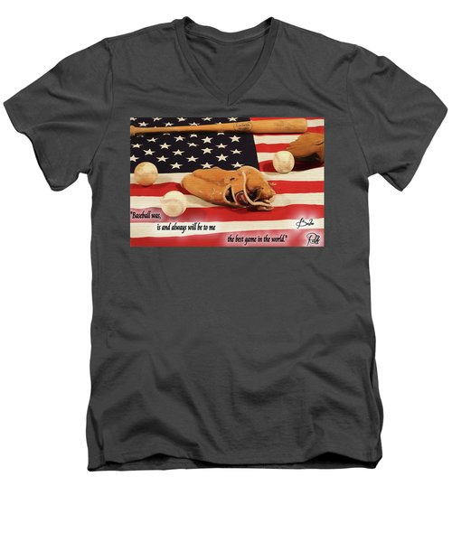 Babe Ruth Baseball Quote Men's V-Neck T-Shirt by Dan Sproul