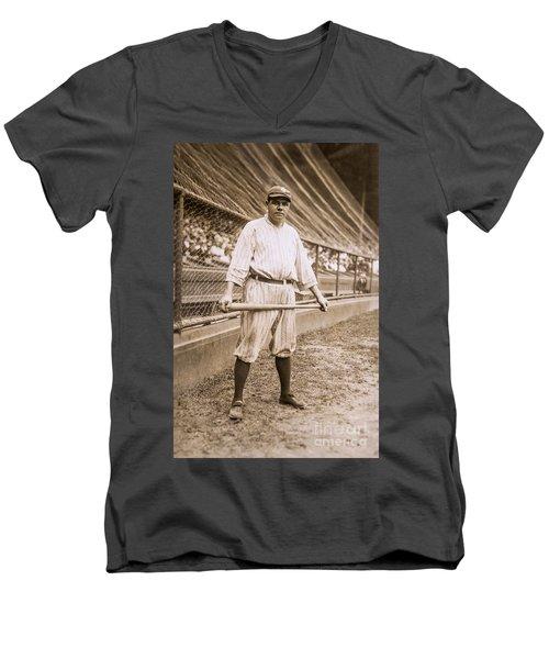 Babe Ruth On Deck Men's V-Neck T-Shirt by Jon Neidert