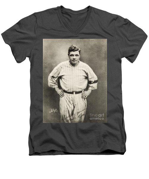 Babe Ruth Portrait Men's V-Neck T-Shirt