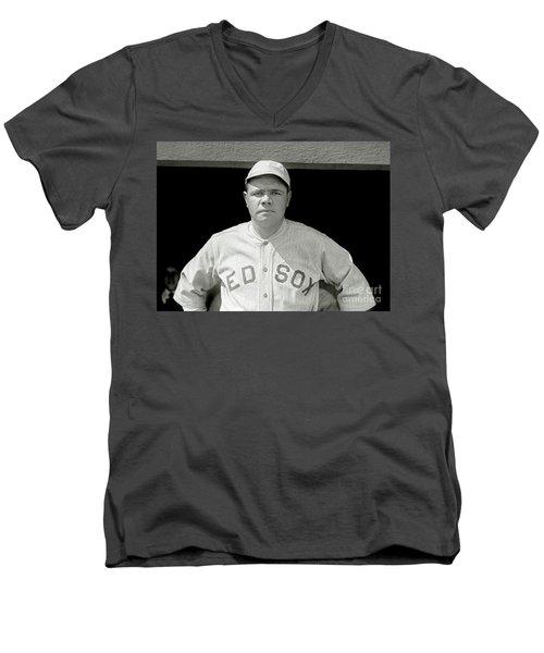 Babe Ruth Red Sox Men's V-Neck T-Shirt by Jon Neidert