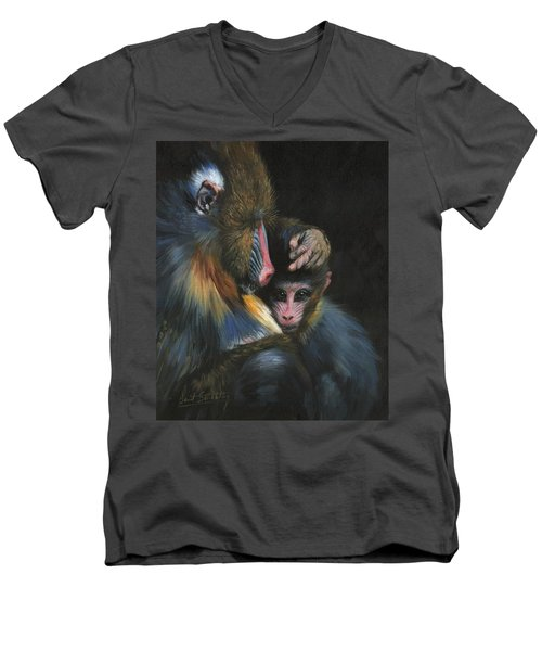 Men's V-Neck T-Shirt featuring the painting Baboon Mother And Baby by David Stribbling