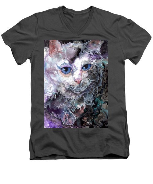 Men's V-Neck T-Shirt featuring the painting Baby Blues by Sherry Shipley
