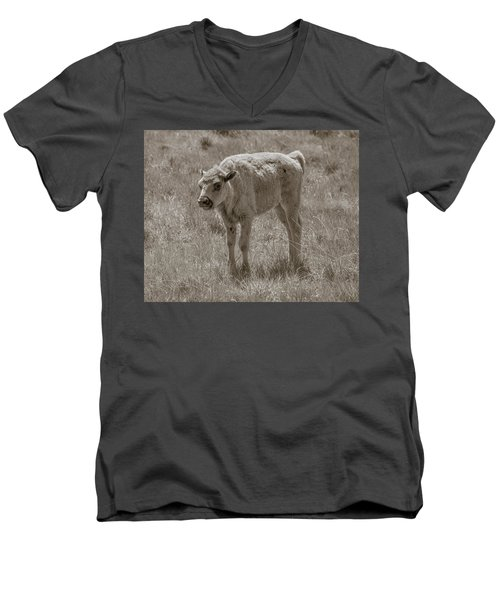Men's V-Neck T-Shirt featuring the photograph Baby Buffalo by Rebecca Margraf