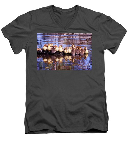 Baby Ducks On A Log Men's V-Neck T-Shirt