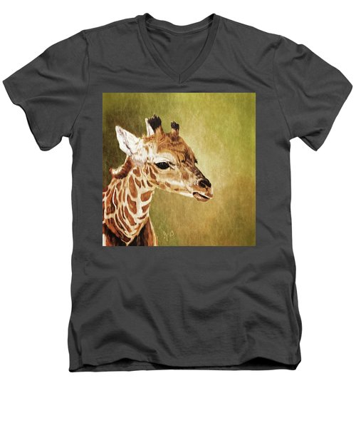 Baby Giraffe Men's V-Neck T-Shirt