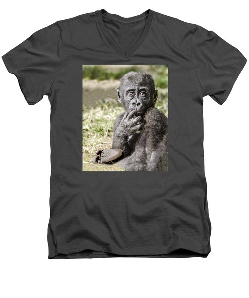 Baby Gorilla Portrait Men's V-Neck T-Shirt