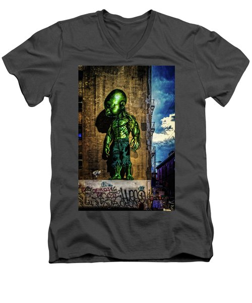 Men's V-Neck T-Shirt featuring the photograph Baby Hulk by Chris Lord