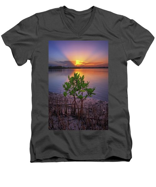 Baby Mangrove Sunset At Indian River State Park Men's V-Neck T-Shirt