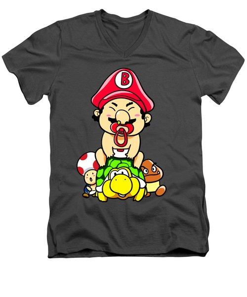 Baby Mario And Friends Men's V-Neck T-Shirt by Paws Pals