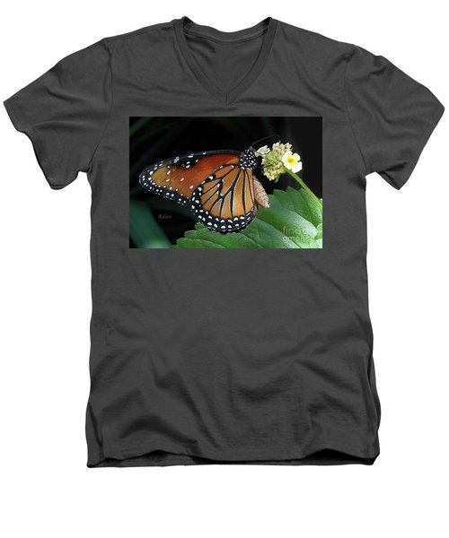 Baby Monarch Macro Men's V-Neck T-Shirt by Felipe Adan Lerma