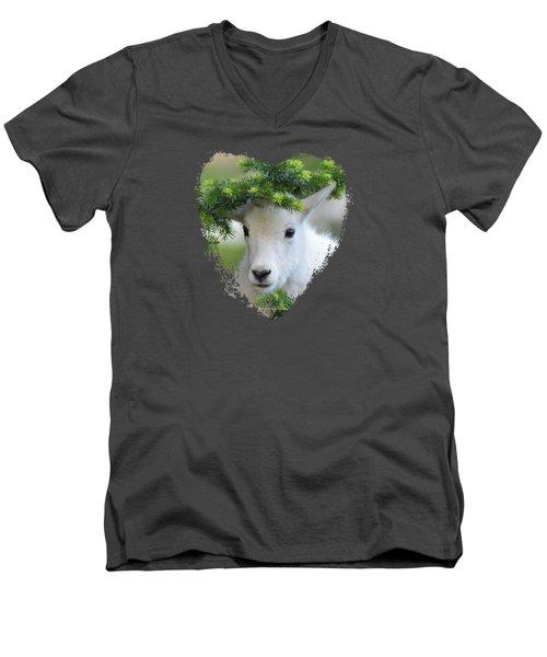 Baby Mountain Goat Heart Men's V-Neck T-Shirt