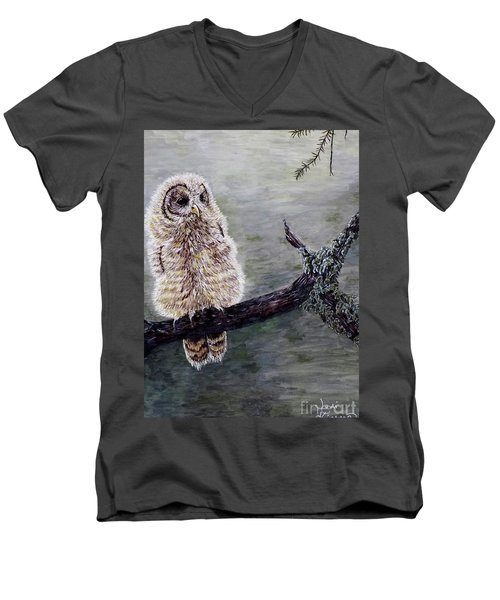 Men's V-Neck T-Shirt featuring the painting Baby Owl by Judy Kirouac