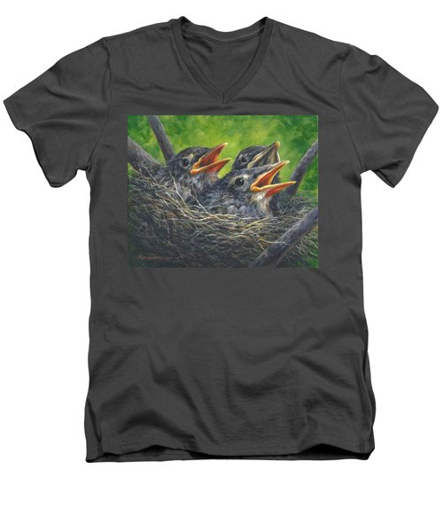 Baby Robins Men's V-Neck T-Shirt by Kim Lockman