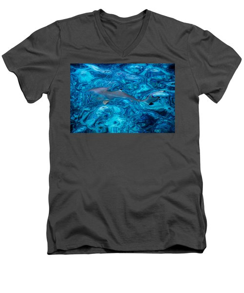Baby Shark In The Turquoise Water. Production By Nature Men's V-Neck T-Shirt