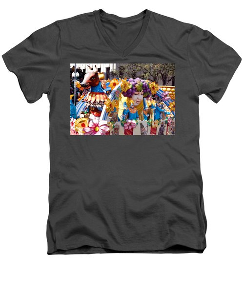 Bacchus Mardis Gras Float Men's V-Neck T-Shirt by Carol M Highsmith