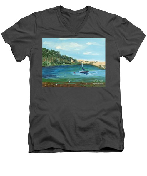 Men's V-Neck T-Shirt featuring the painting Back Bay From Back Bay Inn Los Osos Ca by Katherine Young-Beck