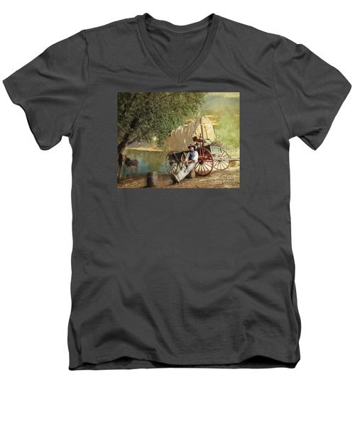 Men's V-Neck T-Shirt featuring the photograph Back Country Camp Out by Rhonda Strickland