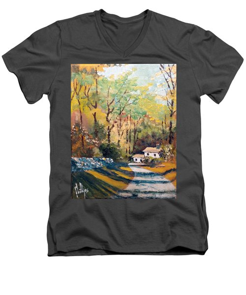 Back In The Neighborhood Men's V-Neck T-Shirt by Jim Phillips