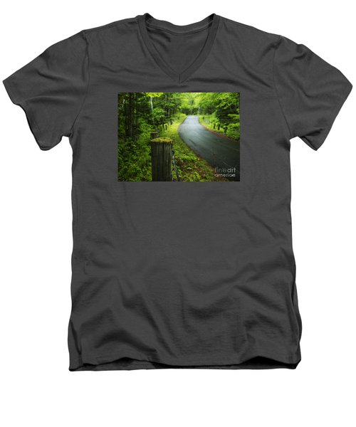 Back Road Men's V-Neck T-Shirt by Alana Ranney