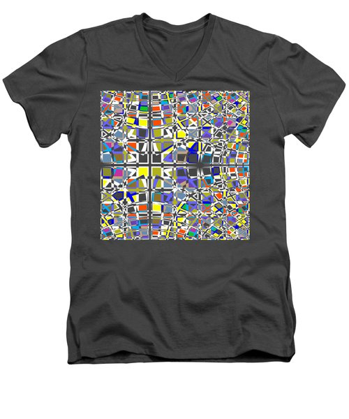 Background Choice Squares Men's V-Neck T-Shirt by Barbara Moignard
