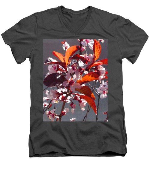 Backlit Pink Tree Blossoms Men's V-Neck T-Shirt