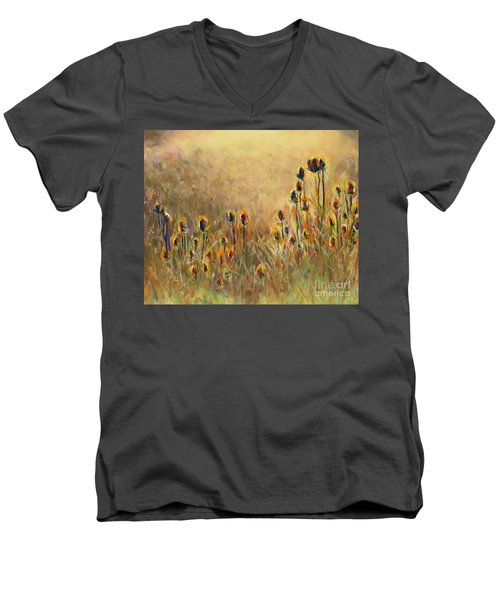 Backlit Thistle Men's V-Neck T-Shirt