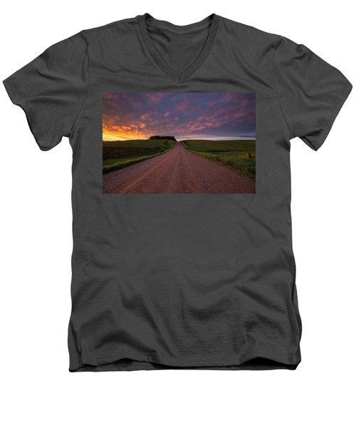 Men's V-Neck T-Shirt featuring the photograph Backroad To Heaven  by Aaron J Groen