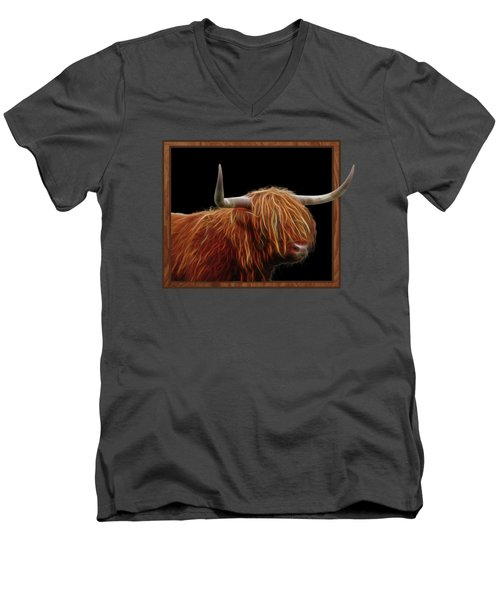 Bad Hair Day - Highland Cow - On Black Men's V-Neck T-Shirt by Gill Billington