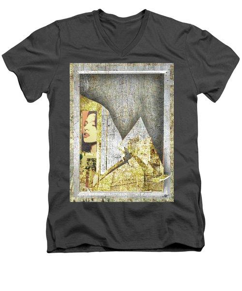Men's V-Neck T-Shirt featuring the mixed media Bad Luck by Tony Rubino