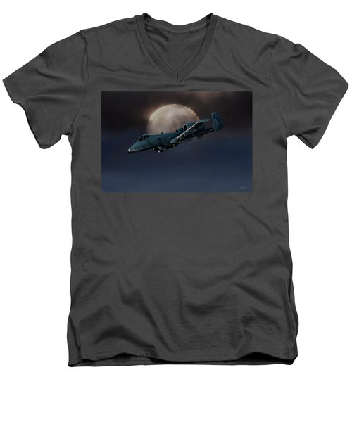 Men's V-Neck T-Shirt featuring the digital art Bad Moon by Peter Chilelli