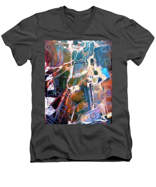 Men's V-Neck T-Shirt featuring the painting Badlands 1 by Dominic Piperata