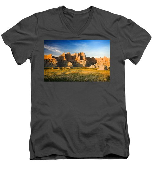 Men's V-Neck T-Shirt featuring the photograph Badlands In Late Afternoon by Rikk Flohr