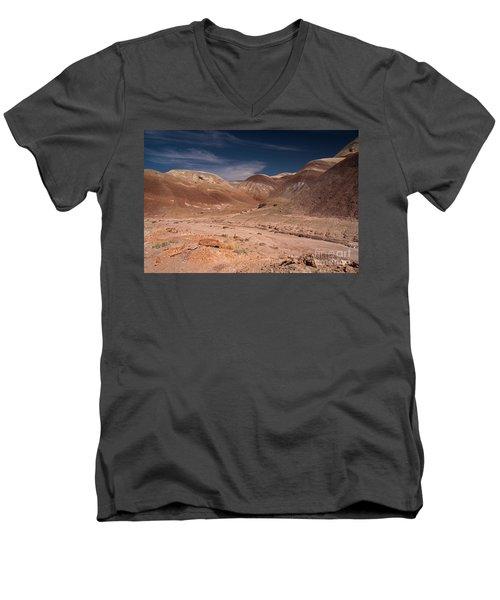 Badlands Near Hanksville Utah Men's V-Neck T-Shirt