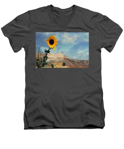 Badlands Of South Dakota Yellow Flower Men's V-Neck T-Shirt