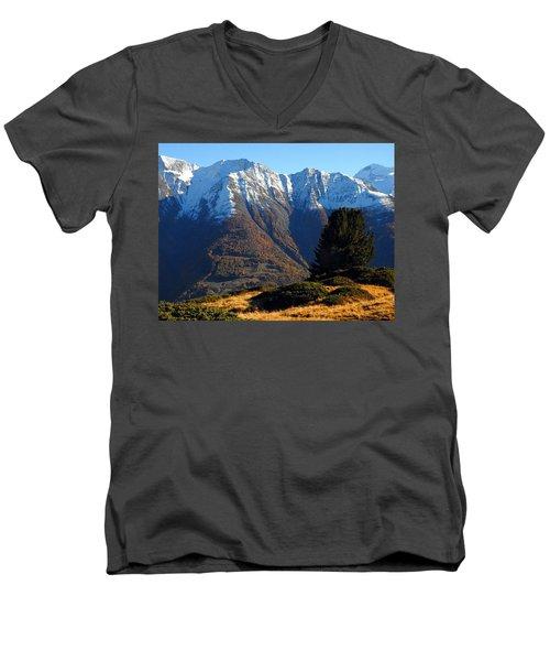 Baettlihorn In Valais, Switzerland Men's V-Neck T-Shirt by Ernst Dittmar